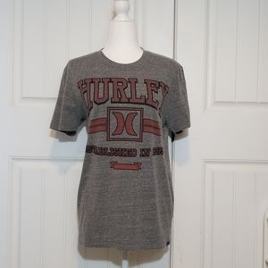 Hurley Gray Short Sleeve Logo Graphic Crew Tshirt
